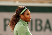 Serena Williams of The United States celebrates match point in their ladies singles first round match against Irina-Camelia Begu of Romania on day two of the 2021 French Open at Roland Garros on May 31, 2021 in Paris, France.