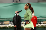 Serena Williams of The United States speaks to the media following victory in their ladies singles first round match against Irina-Camelia Begu of Romania on day two of the 2021 French Open at Roland Garros on May 31, 2021 in Paris, France.