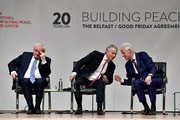Former US President Bill Clinton (R) chats with former British Prime Minister Tony Blair as they attend an event to mark the 20th anniversary of the Good Friday Agreement at Queens university on April 10, 2018 in Belfast, Northern Ireland. Northern Ireland's present devolved system of government is based on this agreement and was a major part of the 1990's peace process.