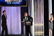 "(L-R) Recording artist Justin Timberlake, recipient of the ""Hollywood Song Award"" for ""CAN'T STOP THE FEELING!"", host James Corden and presenter Anna Kendrick speak onstage during the 20th Annual Hollywood Film Awards on November 6, 2016 in Beverly Hills, California."