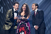 Luis Gerardo Méndez, Alessia Cara and Cristian Nodal announce the Tropical Fusion Album Award winner during the 20th annual Latin GRAMMY Awards at MGM Grand Garden Arena on November 14, 2019 in Las Vegas, Nevada.