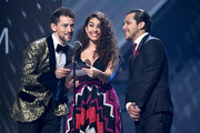 Luis Gerardo Méndez, Alessia Cara and Cristian Nodal present the wInner for the Tropical F performs onstage during the 20th annual Latin GRAMMY Awards at MGM Grand Garden Arena on November 14, 2019 in Las Vegas, Nevada.