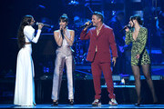 (L-R)  Greeicy, Aitana, Alejandro Sanz and Nella perform onstage during the 20th annual Latin GRAMMY Awards at MGM Grand Garden Arena on November 14, 2019 in Las Vegas, Nevada.