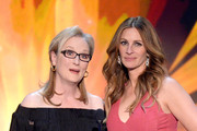 Actors Meryl Streep (L) and Julia Roberts speak onstage during the 20th Annual Screen Actors Guild Awards at The Shrine Auditorium on January 18, 2014 in Los Angeles, California.
