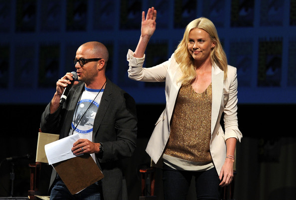 Moderator Damon Lindelof and actress Charlize Theron speak at 20th Century Fox Panel at the San Diego Convention Center on July 21, 2011 in San Diego, California.