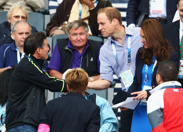 Lord Sebastian Coe greets Catherine, Duchess of Cambridge and Prince William, Duke of Cambridge at Hampden Park during day six of the Glasgow 2014 Commonwealth Games on July 29, 2014 in Glasgow, United Kingdom.