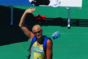 Carolina Kluft of Sweden greets the crowd after competing in the Womens Long Jump Qualifying during day one of the 20th European Athletics Championships at the Olympic Stadium on July 27, 2010 in Barcelona, Spain.