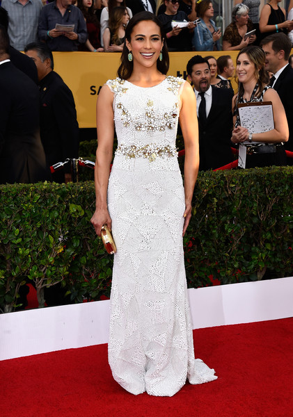 Actress Paula Patton attends the 21st Annual Screen Actors Guild Awards at The Shrine Auditorium on January 25, 2015 in Los Angeles, California.