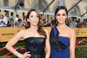 Actors Chelsea Peretti (L) and Melissa Fumero attend the 21st Annual Screen Actors Guild Awards at The Shrine Auditorium on January 25, 2015 in Los Angeles, California.