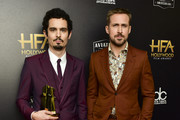 Damien Chazelle (L) and Ryan Gosling pose in press room at the 22nd Annual Hollywood Film Awards on November 04, 2018 in Beverly Hills, California.