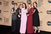 (L-R) Actors Phyllis Logan, Lesley Nicol, Sophie McShera, Joanne Froggatt, and Raquel Cassidy, winners for Outstanding Performance By an Ensemble in a Drama Series 'Downton Abbey', pose in the press room during The 22nd Annual Screen Actors Guild Awards at The Shrine Auditorium on January 30, 2016 in Los Angeles, California. 25650_015