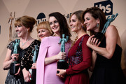 (L-R) Actors Phyllis Logan, Lesley Nicol, Sophie McShera, Joanne Froggatt, and Raquel Cassidy, winners of  Outstanding Performance by an Ensemble in a Drama Series for 'Downton Abbey,' pose in the press room during the 22nd Annual Screen Actors Guild Awards at The Shrine Auditorium on January 30, 2016 in Los Angeles, California.