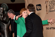 Screen Actors Guild Life Achievement Award winner Carol Burnett (L) greets actor Kevin Spacey, winner of the Male Actor in a Drama Series award for 'House of Cards,' in the press room during The 22nd Annual Screen Actors Guild Awards at The Shrine Auditorium on January 30, 2016 in Los Angeles, California. 25650_015
