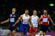 Adam Gemili (2nd L) of Great Britain and Northern Ireland celebrates winning gold ahead of silver medalist Christophe Lemaitre (L) of France in the Men's 200 metres final during day four of the 22nd European Athletics Championships at Stadium Letzigrund on August 15, 2014 in Zurich, Switzerland.