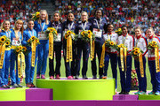 (L-R) Silver medalists Ukraine, gold medalists France and bronze medalists Great Britain and Northern Ireland stand on the podium during the medal ceremony for the Women's 4 x 400m Relay Final during day six of the 22nd European Athletics Championships at Stadium Letzigrund on August 17, 2014 in Zurich, Switzerland.