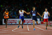 Adam Gemili (2nd L) of Great Britain and Northern Ireland crosses the finish line to win gold ahead of silver medalist Christophe Lemaitre (2nd R) of France in the Men's 200 metres final during day four of the 22nd European Athletics Championships at Stadium Letzigrund on August 15, 2014 in Zurich, Switzerland.