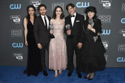 (l_R) Actors Marin Hinkle, Michael Zegen, Rachel Brosnahan, fillmmakers Dan Palladino and Amy Sherman-Palladino, recipients of the Best Comedy Series award for 'The Marvelous Mrs. Maisel', pose in the press room during The 23rd Annual Critics' Choice Awards at Barker Hangar on January 11, 2018 in Santa Monica, California.