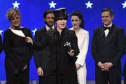 (L-R) Caroline Aaron, Michael Zegen, Amy Sherman-Palladino, Rachel Brosnahan, and Daniel Palladino accept the Best Comedy Series award for''The Marvelous Mrs. Maisel' onstage during the 24th annual Critics' Choice Awards at Barker Hangar on January 13, 2019 in Santa Monica, California.