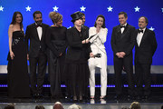 (L-R) Marin Hinkle, Tony Shalhoub, Caroline Aaron, Michael Zegen, Amy Sherman-Palladino, Rachel Brosnahan, Daniel Palladino, and Kevin Pollak accept the Best Comedy Series award for''The Marvelous Mrs. Maisel' onstage during the 24th annual Critics' Choice Awards at Barker Hangar on January 13, 2019 in Santa Monica, California.