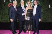 """President & CEO of FFANY Ron Fromm, Designer Dennis Basso, Event Host Jill Martin and President & CEO of QVC Mike George attend the 24th Annual QVC presents """"FFANY Shoes On Sale"""" Gala at The Ziegfeld Ballroom on October 10, 2017 in New York City."""