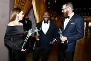 (L-R) Actors  Sarah Sutherland, Sam Richardson, and Timothy Simons, co-winners of the Outstanding Performance by an Ensemble in a Comedy Series award for 'Veep,' attend the 24th Annual Screen Actors Guild Awards at The Shrine Auditorium on January 21, 2018 in Los Angeles, California. 27522_011