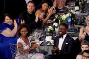 (Back row L-R) Actors Chrissy Metz, Justin Hartley, Susan Kelechi Watson, (front row L-R) Ryan Michelle Bathe and actor Sterling K. Brown attend the 24th Annual Screen Actors Guild Awards at The Shrine Auditorium on January 21, 2018 in Los Angeles, California. 27522_014