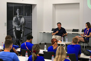 Chairman of the IAAF Sebastian Coe visits the 6th European Athletics Young Leaders Forum on the sidelines of the 24th European Athletics Championships at Olympiastadion on August 9, 2018 in Berlin, Germany. This event forms part of the first multi-sport European Championships.