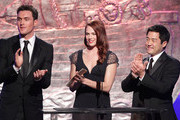 (L-R) Actor Owain Yeoman, actress Amanda Righetti and actor Tim Kang speak during the 24th Genesis Awards at the Beverly Hilton Hotel on March 20, 2010 in Beverly Hills, California.