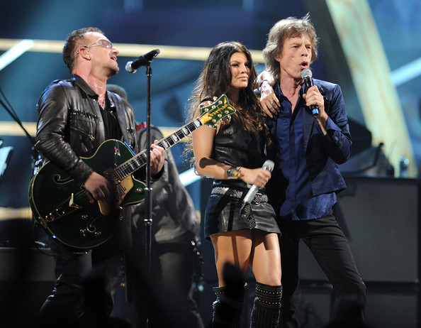 Bono of U2, Fergie of Black Eyed Peas and Mick Jagger of The Rollings Stones perform onstage at the 25th Anniversary Rock & Roll Hall of Fame Concert at Madison Square Garden on October 30, 2009 in New York City.