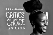 Image converted to black and white.) Lupita Nyong'o attends the 25th Annual Critics' Choice Awardsat Barker Hangar on January 12, 2020 in Santa Monica, California.