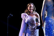 Kate Beckinsale speaks onstage during the 25th Annual Critics' Choice Awards at Barker Hangar on January 12, 2020 in Santa Monica, California.