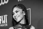 Image has been converted to black and white) Zendaya attends the 25th annual Critics' Choice Awards at Barker Hangar on January 12, 2020 in Santa Monica, California.