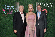 """President & CEO of FFANY Ron Fromm, Katy Perry, and Qurate Retail Group CEO Mike George attend the 25th Annual QVC """"FFANY Shoes on Sale"""" Gala at The Ziegfeld Ballroom on October 11, 2018 in New York City."""