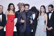 The cast of ?The Marvelous Mrs. Maisel? accepts Outstanding Performance by an Ensemble in a Comedy Series onstage during the 25th Annual Screen ActorsGuild Awards at The Shrine Auditorium on January 27, 2019 in Los Angeles, California. 480493