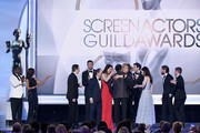 Cast members of 'The Marvelous Mrs. Maisel' accept the Outstanding Performance by an Ensemble in a Comedy Series award onstage during the 25th Annual Screen Actors Guild Awards at The Shrine Auditorium on January 27, 2019 in Los Angeles, California.