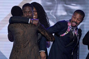 (L-R) Chadwick Boseman, Sterling K. Brown, Sydelle Noel, and Michael B. Jordan celebrate onstage during the 25th Annual Screen ActorsGuild Awards at The Shrine Auditorium on January 27, 2019 in Los Angeles, California.
