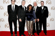 (L-R) Producer Garrett Basch, filmaker Steve James and producers Chaz Ebert, Mark Mitten and Zak Piper attend the 26th Annual Producers Guild Of America Awards at the Hyatt Regency Century Plaza on January 24, 2015 in Los Angeles, California.