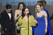 (L-R) Michael Zegen, Marin Hinkle, Alex Borstein, and Rachel Brosnahan accept Outstanding Performance by an Ensemble in a Comedy Series for 'The Marvelous Mrs. Maisel' onstage at the 26th Annual Screen Actors Guild Awards at The Shrine Auditorium on January 19, 2020 in Los Angeles, California. 721359