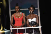 (L-R) Danai Gurira and Lupita Nyong'o speak onstage during the 26th Annual Screen ActorsGuild Awards at The Shrine Auditorium on January 19, 2020 in Los Angeles, California. 721359
