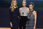 (L-R) Nicole Kidman, Charlize Theron, and Margot Robbie speak onstage during the 26th Annual Screen ActorsGuild Awards at The Shrine Auditorium on January 19, 2020 in Los Angeles, California. 721359