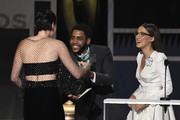 (L-R) Phoebe Waller-Bridge accepts Outstanding Performance by a Female Actor in a Comedy Series for 'Fleabag' from Jharrel Jerome and Millie Bobby Brown onstage at the 26th Annual Screen ActorsGuild Awards at The Shrine Auditorium on January 19, 2020 in Los Angeles, California. 721359