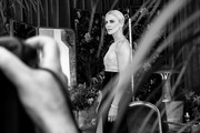 Image has been converted to black and white) Charlize Theron attends the 26th annual Screen Actors Guild Awards at The Shrine Auditorium on January 19, 2020 in Los Angeles, California.
