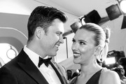 Image has been converted to black and white) Colin Jost and Scarlett Johansson attend the 26th annual Screen Actors Guild Awards at The Shrine Auditorium on January 19, 2020 in Los Angeles, California.