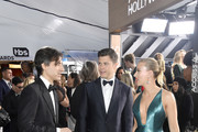 (L-R) Noah Baumbach, Colin Jost and Scarlett Johansson attend the 26th Annual Screen ActorsGuild Awards at The Shrine Auditorium on January 19, 2020 in Los Angeles, California.