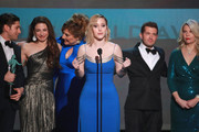 (L-R) Michael Zegen, Marin Hinkle, Rachel Brosnahan, Caroline Aaron, Joel Johnstone, and Matilda Szydagis accept Outstanding Performance by an Ensemble in a Comedy Series for 'The Marvelous Mrs. Maisel' onstage during the 26th Annual Screen Actors Guild Awards at The Shrine Auditorium on January 19, 2020 in Los Angeles, California.