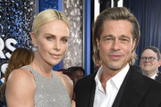 This image is a retransmission) (L-R) Charlize Theron and Brad Pitt attend the 26th Annual Screen ActorsGuild Awards at The Shrine Auditorium on January 19, 2020 in Los Angeles, California.