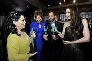 (L-R) Alex Borstein, Caroline Aaron, Tony Shalhoub, and Marin Hinkle,  Winners of Outstanding Performance by an Ensemble in a Comedy Series for 'The Marvelous Mrs. Maisel', are seen in the trophy room during the 26th Annual Screen Actors Guild Awards at The Shrine Auditorium on January 19, 2020 in Los Angeles, California. 721453