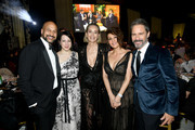 (L-R) Keegan-Michael Key, Elisa Key, Sharon Stone, Nia Vardalos and Eric McCormack attend the 28th Annual Elton John AIDS Foundation Academy Awards Viewing Party sponsored by IMDb, Neuro Drinks and Walmart on February 09, 2020 in West Hollywood, California.