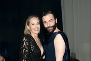 Sharon Stone and Jonathan Van Ness attend the 28th Annual Elton John AIDS Foundation Academy Awards Viewing Party sponsored by IMDb, Neuro Drinks and Walmart on February 09, 2020 in West Hollywood, California.