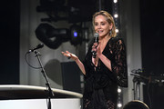 Sharon Stone speaks onstage at the 28th Annual Elton John AIDS Foundation Academy Awards Viewing Party sponsored by IMDb, Neuro Drinks and Walmart on February 09, 2020 in West Hollywood, California.